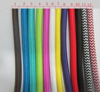 Wholesale meter roll mm double core line retro twisted lamp cable white color P V knitted cloth braided electrical wire