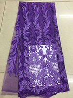 Wholesale latst african lace fabric purple high quality swiss voile lace french net fabric for nigerian wedding dress