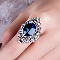 antique emerald ring - Hot Selling Europe and America Vintage Long Crystal Ring Antique Style Blue Gemstone Edge White Crystal Large Big Ring Women Jewelry BB43