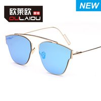 alloy street lighting - D ultra light and light European and American personality retro reflective street to shoot the sun glasses Ladies Sunglasses