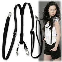 Wholesale Cheap Faux Leather Y Back Pants Braces Suspenders for women men suspensorio Black fashion accessories EQ5139