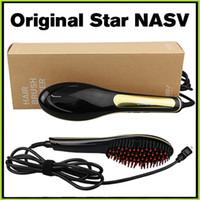 automatic hair brush - 100 Genuine Beautiful Star Nasv Hair Straightner Brush Comb Hair Brush Straightening Irons Automatic Hair Straighteners Straight Hair Tool