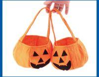 Wholesale Halloween pumpkin bag hand held halloween props baskets non woven candy bags three dimensional pumpkin bag