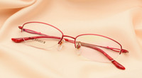 beautiful optical - Young womenTitanium eyeglass frames red or purple color lady eye glasses half optical frame fashion Beautiful eyeglasses eyewear