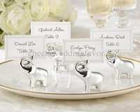 Wholesale by EMS quot Lucky in Love quot Silver Finish Lucky Elephant Place Card Photo Holder