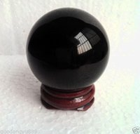Wholesale HOT SELL NATURAL OBSIDIAN POLISHED BLACK CRYSTAL SPHERE BALL MM STAND