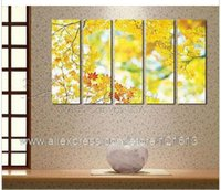 autumn photo frames - Autumn Golden Leaves Great Home Decor High Quality Canvas Art Et Big Oil Painting Canvas Art Photo For Picture Living Roo