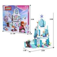 Wholesale frozen princess and castle piece plastic building blocks puzzles for gilrs color box packing