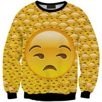 Emojis roupas Preços-Moda camisola das mulheres 3D Emoji Impresso Hoodies Sexy Long Sleeve Costura Top Sports Suit para Mulheres Causal Outfits