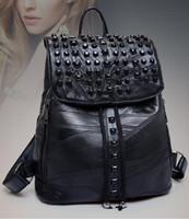 Wholesale Korean version of the new genuine leather willow nail fashion shoulder bag leisure sheepskin stitching handbags