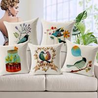 Wholesale Cotton Linen Home Decorative Throw Pillow Cover Cushion Case Couple Pillow Case Birds Print Cushion Covers For Sofa Car Seat Cushions quot