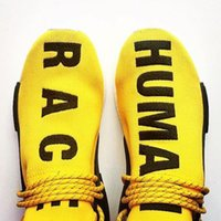 Wholesale Human Race Pharrells NMD Runner Boost Trainning Shoes With Box Nmd quot HUMAN quot and quot RACE quot are boldly printed underneath modified lacing system
