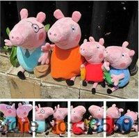 venda por atacado peppa pig toys-4PCS / Lot Peppa Pink Pig Plush Toy Figuras Pink Pig família papai mamãe George Pig Plush Toys Stuffed presente das crianças da boneca