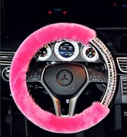 automotive steering wheels - 2016 New Arrival Woman Dedicated Car Steering Wheel Cover Artificial plush Diamonds Purple Pink White Fashion High grade Automotive supplies