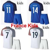 Cheap 16 17 France National team Kids Soccer Kits 2016 European Cup France Children football set 2017 POGBA GRRIEZMANN MATUIDI Youth uniform