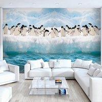 antarctic animals - Custom Mural Wall Paper Antarctic Ice Penguin Animal Murals D Stereo Children s Bedroom Sofa TV Background Photo Wallpaper