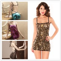 american modern dance - Brand New fashion shiny sequins dance by European and American sleeveless dress strap genuine DFMD092 summer Spot Dress for women