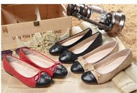 Wholesale Famous brand women classic plaid spring autumn flats CC leather sheepskin ballet channels flat shoes