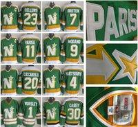 Wholesale Men s North Stars Dino Ciccarelli Mike Modano J P PARISE Green White Neal Broten CCMThrowback Hockey Jersey
