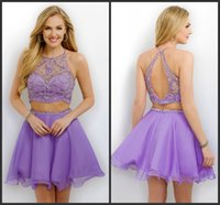 Cheap Chiffon Two Pieces Lavender Homecoming Dresses 2016 Jewel Neckline Sleeveless Short Party Gowns EG Beaded Formal Cocktail Dress Blush 231