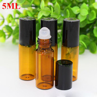 Wholesale 5ml oz molded amber roll on perfume bottle ml glass beads Stainless steel Roller glass bottles for cosmetic essential Oil by Free DHL