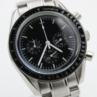 battery seller - Hot seller Luxury Arrival Quartz Black Face Full Stainless Steel Men s Moon Wristwatch Analog Ti3 Professional Speed Male Watch Relogio