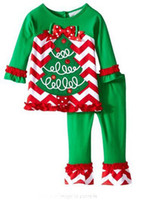 Wholesale Kids Christmas Set Clothes Striped Outfits girls christmas deer snowman santa claus pajamas Tops Ruffle Pants dress