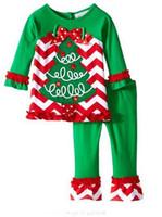 american pajamas - Kids Christmas Set Clothes Striped Outfits girls christmas deer snowman santa claus pajamas Tops Ruffle Pants dress