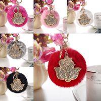 Charms avec Keychain Porte-clés Charm Pendentif gros-Femmes Rose Flower Fluffy Fur Pompom Boule Sac Jouet