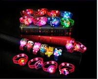 Wholesale 50pcs children cartoon luminous wrist band led Flash watchband bracelet light emitting toys design