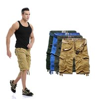 Wholesale Men s Cotton Straight Loose Fit Washed Multi Pockets Camping Solid Shorts Work Pocket Camo Casual Cargo Shorts