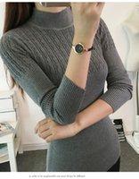 Wholesale Autumn sweater new Korean Slim autumn bottoming shirt solid color sweater women sweater semi high collar shirt