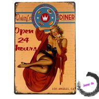 Cartel de metal Vintage / Retro Pin-up Girl 24 Horas Abrir Daisys Diner Metal Tin Sign G26 20161005 #
