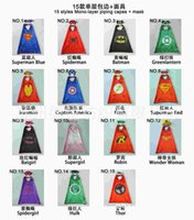 Wholesale 2016 Newest high quality party Double side kids superhero Cape Batman Ninja Turtles Spiderman Flash Robin kids capes