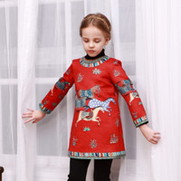 american girl sales - New Arrival Girls Autumn Wl monsoon Best Sale Princess Dress Best Sale Childrens American Style Cute Horse Printed Long Sleeve Dress