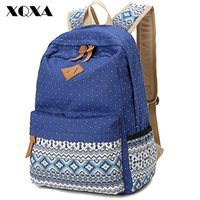 Wholesale Ethnic Women Backpack for School Teenagers Girls Vintage Stylish Ladies Bag Backpack Female Purple Dotted Printing High Quality