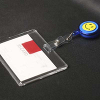 acrylic office supplies - High Quality Acrylic Business ID Badge With Retractable Badge Reel Horizontal Style Badge Lanyard School Office Supplies Papelaria