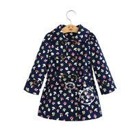 Wholesale Children Tench coats autumn new girls mushroom floral printed long tench coats kids lapel Double breasted belt princess outwear A8693