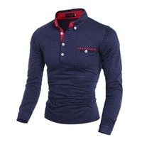 Wholesale online tops tee mens clothes shirts fashion formal Polka Dot POLO Long sleeve Black slim fit Cotton cheap for sale