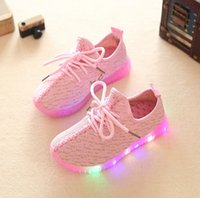 b d led - 2016 New Autumn Breathable Kids LED light Sneakers Children Air Mesh Colorful Flashing boys Sports shoes for girls size have box