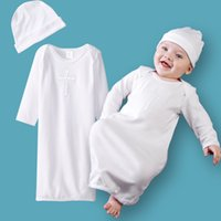 Wholesale long sleeve baptism clothes for toddlers newborn baby christening dresses cross print baby clothes white baptism dress with hat