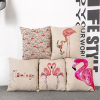 Wholesale Linen cotton cushion cover sofa summer style car office home decorative throw pillows case covers Flamingo pillow case