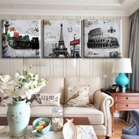 Cheap 3 Piece Free Shipping Hot Sell Modern Wall Painting Paris Roman Landscape Home Decorative Art Picture Paint On Canvas Prints