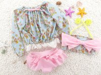 Wholesale Swimwear Girl Sunscreen - Fashion children's swimsuit girls floral Bows bikini +Sunscreen tops 3pcs sets for baby girl kids beach swimsuit child spa swimwear 7330