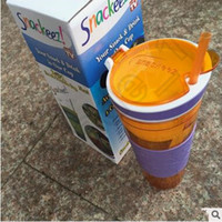 beverage mugs - 40pcs CCA4054 High Quality Colors Snackeez Snack Cups Beverage Cup Isolate Snack Nuts Combo Suction Cup Flip top Snack Lid Mug With Straw
