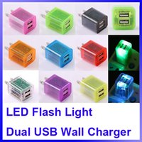 america usb adapters - Dual USB Home Charger V A Travel Adapter Wall Charger LED Colorful Transparent Universal America Mobile Phone Chargers