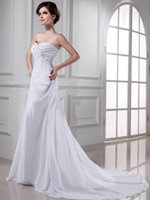 affordable plus size wedding dresses - Popular Sweetheart Embroidery Appliques White Chiffon Plus Size Wedding Dresses For Anniversary On Sale With Affordable Prices