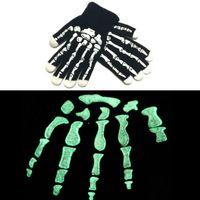 acrylic knit gloves - New Halloween Luminous Hand Bone Gloves Winter Knitted Warm Gloves Skeleton Gripper Five Fingers Gloves