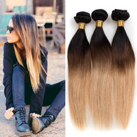 Cheap 8A unprocessed Brazilian Hair bundles straight ombre hair 3Pcs Lot hot 1B 4 27 Brazilian Peruvian Malaysian human hair Extensions Weft Remy
