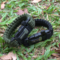 Wholesale 4 in Flint Fire Starter Whistle Outdoor Camping Survival Gear Buckle Travel Kit Equipment Paracord Rescue Rope Escape Bracelet